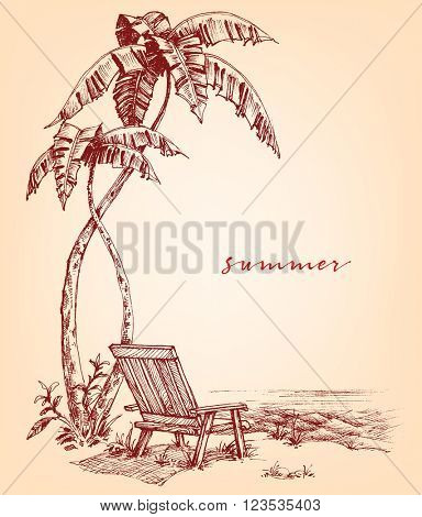 Summer sketch. Palm trees and sunbed on the beach