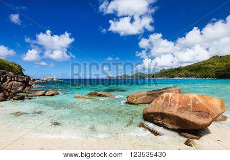 Stunning tropical beach on Mahe island on Seychelles
