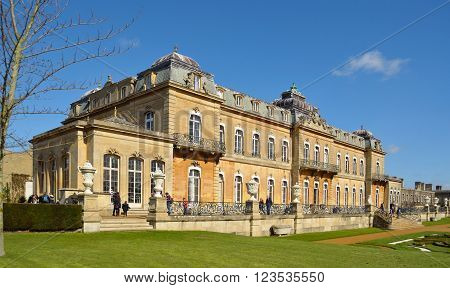Silsoe, Bedfordshire, England - March 25, 2016: Wrest Park country house a grade 1 listed building open to the public.