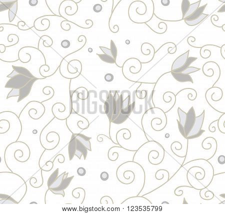Example of colors for fabric, seamless texture, a graphic element of design, a petal of the blossoming flower, the plants interwoven into a pattern, a botanical ornament