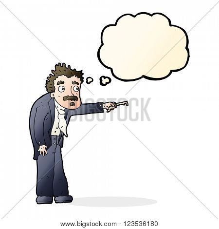 cartoon man trembling with key unlocking with thought bubble