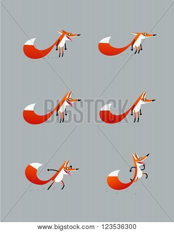Cartoony jolly fox jumping, looking forward, staing with open and closed jaws