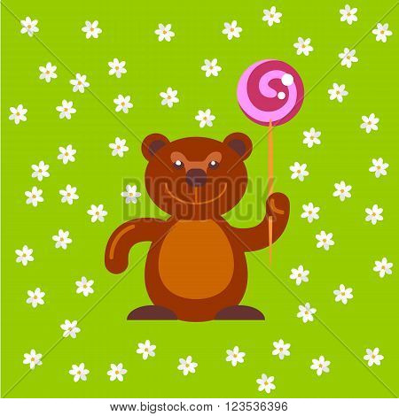 Flat vector Bear with sweet candy at green field with flowers. Funny background for greetings cards. Flat bear toy with gift illustration. Bear cartoon character.