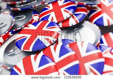 badge button United Kingdom flag 3d Illustrations background