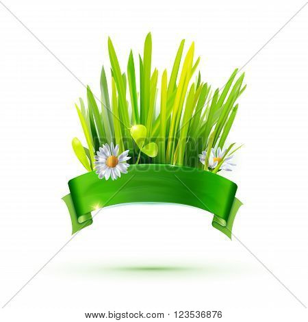 Eco friendly food label. Green leaves, grass, flowers and ribbon  for text. Vector illustration. Food packaging element. Bio technology identity. Green energy sign. Eco background.  Go green idea