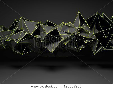 Abstract Futuristic Polygonal Structure 3D Render