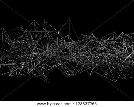 Abstract Wire Frame Mesh Isolated On Black
