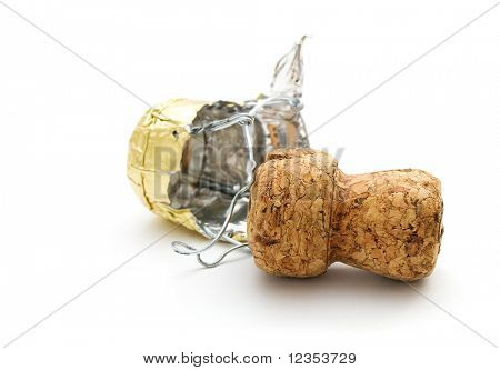 champagne cork on white background