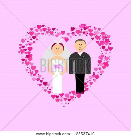 Bride and Groom with love flat vector figures at romance pink background. Classic wedding couple. Traditional bride, groom cartoon for wedding invitation. Couple getting married symbol card