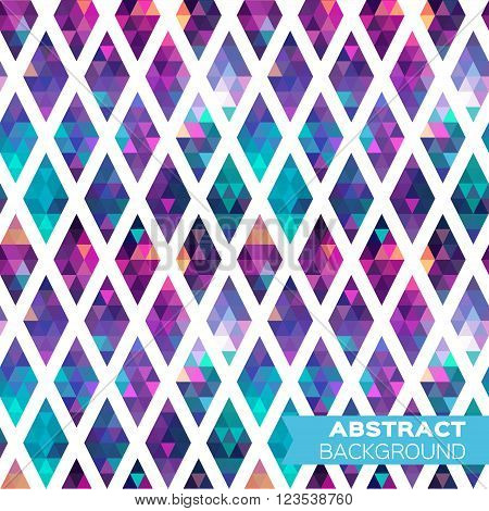 Abstract colorful geometric triangles rhombus background. Vector origami illustration for design