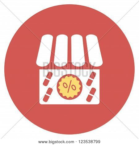 Drugstore Sale vector icon. Image style is a flat light icon symbol on a round red button. Drugstore Sale symbol.