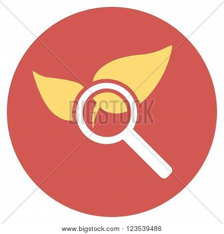 Explore Natural Drugs vector icon. Image style is a flat light icon symbol on a round red button. Explore Natural Drugs symbol.