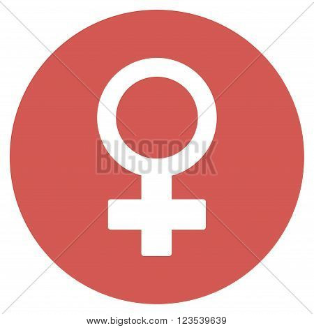 Female Symbol vector icon. Image style is a flat light icon symbol on a round red button. Female Symbol symbol.