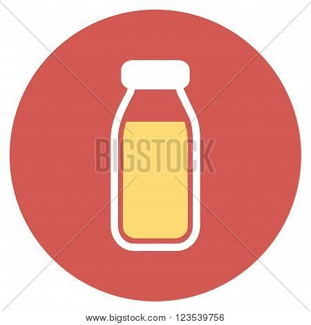 Full Bottle vector icon. Image style is a flat light icon symbol on a round red button. Full Bottle symbol.