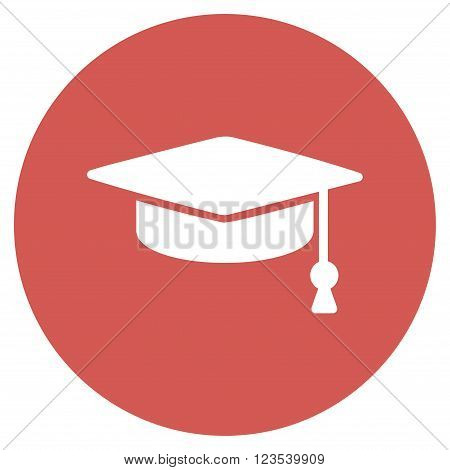 Graduation Cap vector icon. Image style is a flat light icon symbol on a round red button. Graduation Cap symbol.