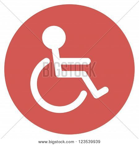Handicapped vector icon. Image style is a flat light icon symbol on a round red button. Handicapped symbol.