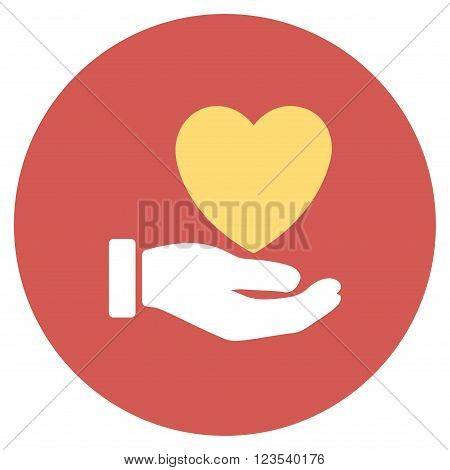 Heart Charity vector icon. Image style is a flat light icon symbol on a round red button. Heart Charity symbol.