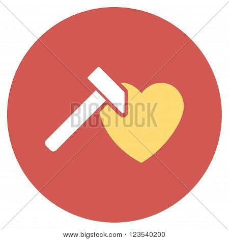 Heart Hammer vector icon. Image style is a flat light icon symbol on a round red button. Heart Hammer symbol.