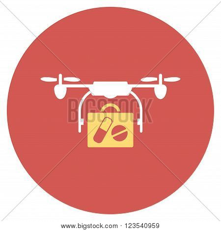 Medical Drone Shipment vector icon. Image style is a flat light icon symbol on a round red button. Medical Drone Shipment symbol.