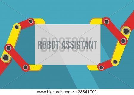 Robot hands holding blank sign with space for text. Flat Design. Vector Illustration isolated on background.