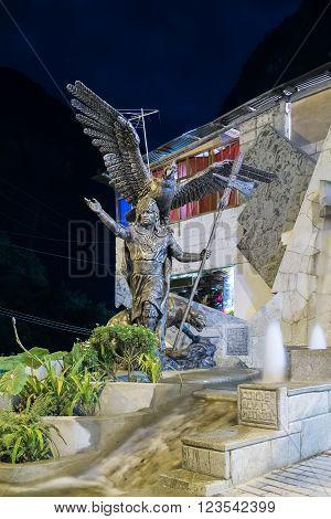 Aguas Calientes, Cusco/peru - Circa June 2015: Great Sapa Inca Statue In Aguas Calientes Machu Picch