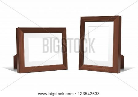 Realistic 3D empty frames of wenge wood. Vector illustration isolated on white background.