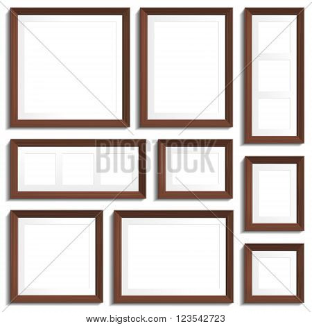 Vector empty frames of wenge wood in various standard formats. Vector illustration isolated on white background.