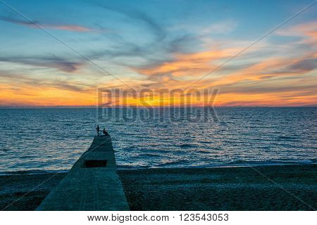 Sea Sunset In Sochi.