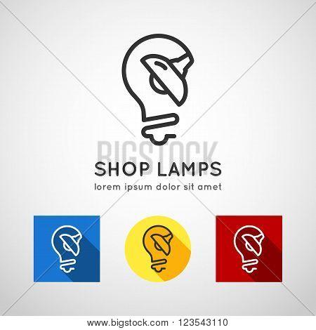 Concept logo lamps, lamp shop. Line style lamps icons flat design, vector illustration