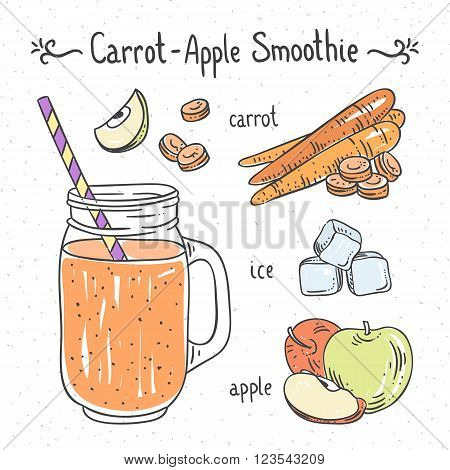Smoothie with carrot and apple. Healthy drink recipe with vegetables and fruit. Hand drawn vector recipe