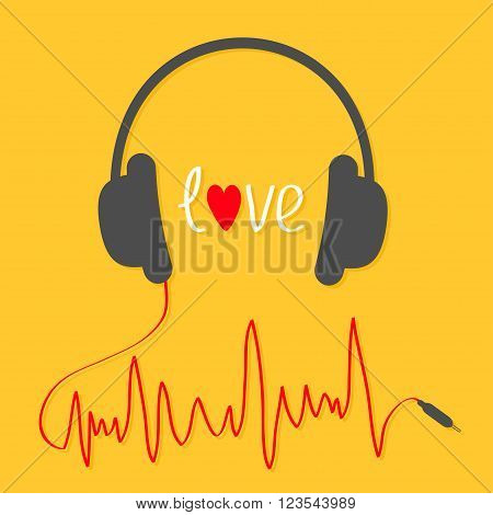 Headphones with red cord in shape of cardiogram trackline. Love card. Music icon. White text heart. Yellow background. Vector illustration