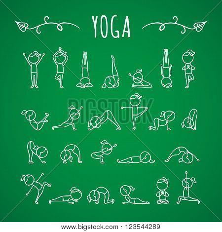 Hand drawn yoga poses. Yoga asanas. Gymnastics exercises, stretching and meditation. Healthy lifestyle sport icons