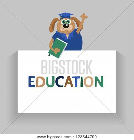 Dog or pappy - cartoon graduate. Vector education background.