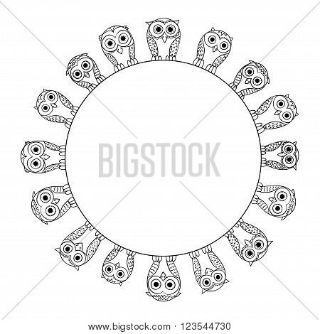 owls sketch style hand drawn frame. Vector background with cartoon cute birds.