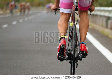 Cycling competition race at high speed,view from behind