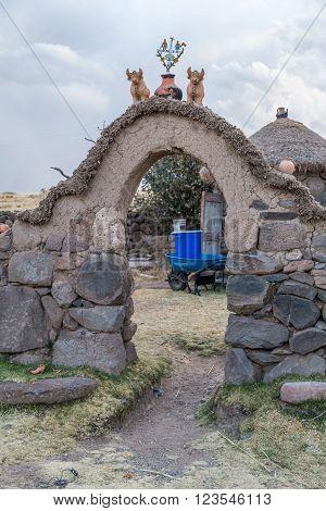 Cusco, Peru - Circa June 2015: Stone Gate At The Peruvian Village In The Countryside, Andes Mountain