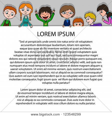 Frame for text in cartoon style. Vector background with funny kids on paper. Happy boys and girls. Template for poster.