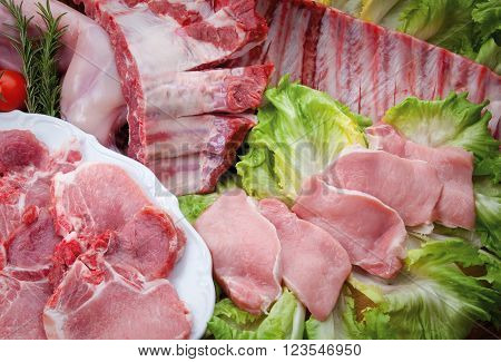 Composition of meat sausage pork and salad