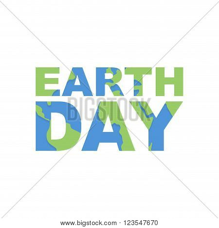 Earth Day Emblem. Logo For Celebration Of  Earth. Silhouette Of Continents And Oceans In The Text. I