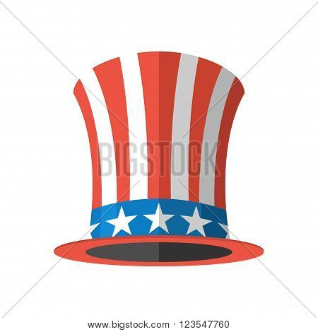 Uncle Sam Hat On White Background. Cylinder Uncle Sam Usa. American Hat. Hat For Independence Day. U