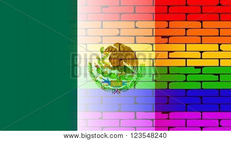 A well worn wall painted with a LGBT rainbow with the Mexican flag