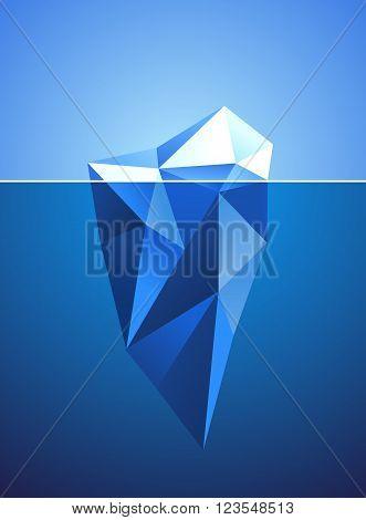 Stylized image of frozen diamond in iceberg shape. Vector illustration