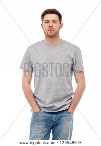 male, gender, fashion and people concept - young man in gray t-shirt and jeans