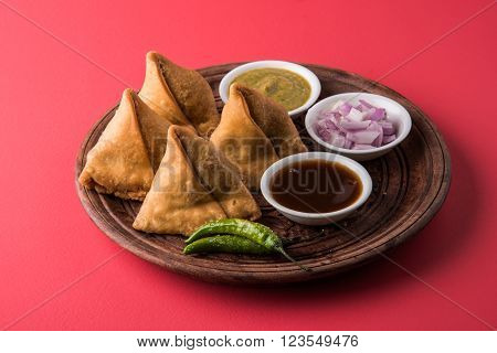 Tasty Samosa, potato fried Samosa, famous indian snack or snacks