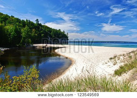 View of Superior Lake from the Castle Beach Michigan USA