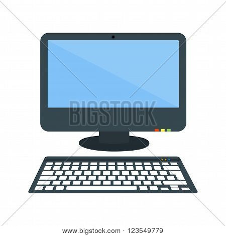Computer, desktop, screen icon vector image. Can also be used for stationery. Suitable for use on web apps, mobile apps and print media.