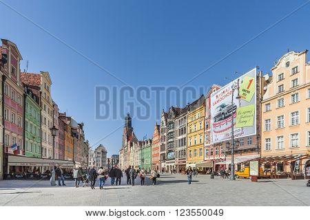 Wroclaw, Poland - Circa March 2012: Central Market Square In Wroclaw,  Poland