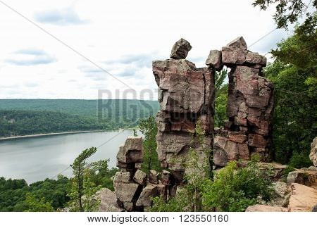 One of the attractions  Devil's Lake State Park are the Devil's Doorway, Wisconsin, USA