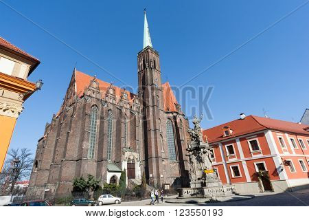 Wroclaw, Poland - Circa March 2012: Collegiate Church Of The Holy Cross And St. Bartholomew At Ostro