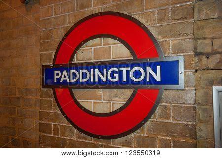 London, Uk - Circa March 2012: Paddington Subway Tube Metro Station Sign In  London